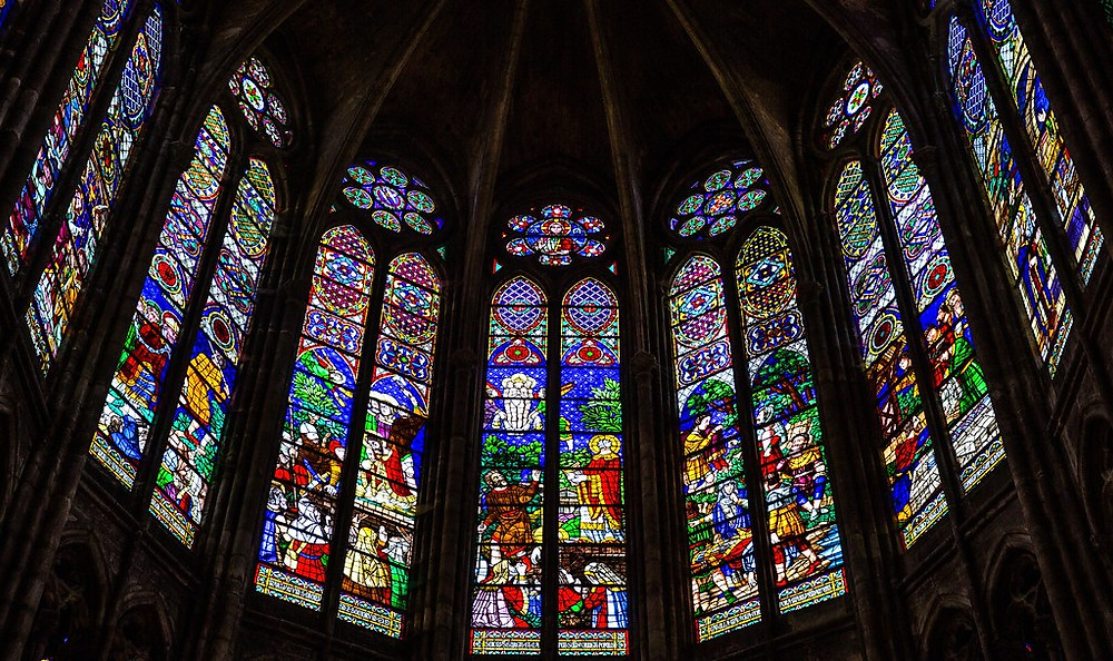 stained glass windows in the Basilica of Saint-Denis