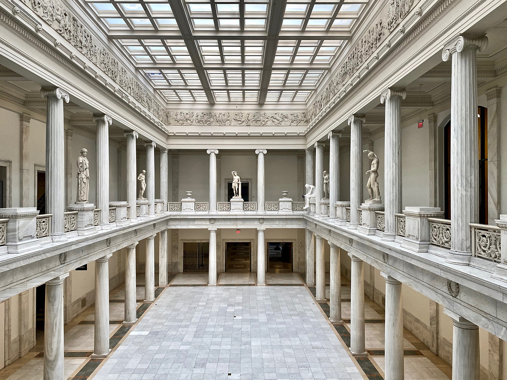 the skylit Hall of Sculpture, based on the Parthenon