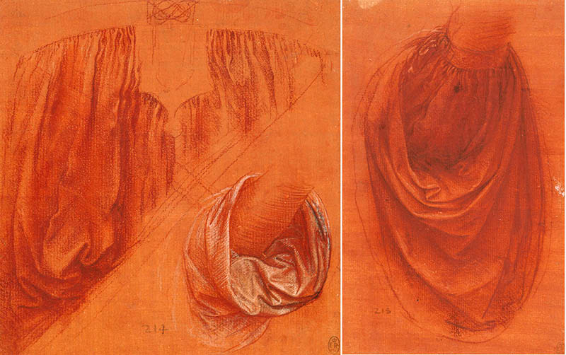 Leonardo drapery studies at Windsor Castle, 1504-08 -- they are similar though not identical to Salvator Mundi