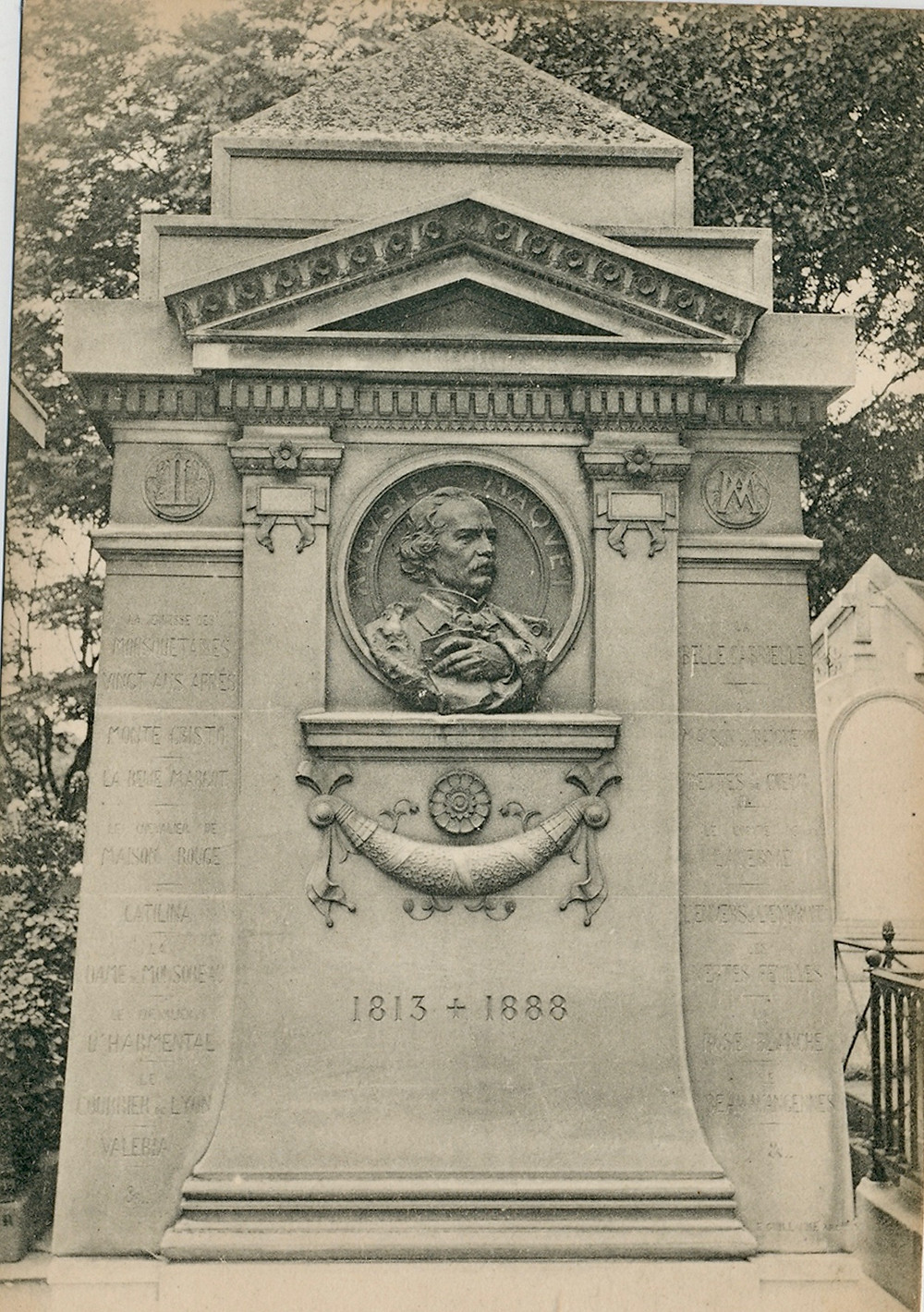 Maquet's gravestone at Pere LaChaise Cemetery. On it, he makes a claim of authorship and you can see the titles of novels attributed solely to Dumas.
