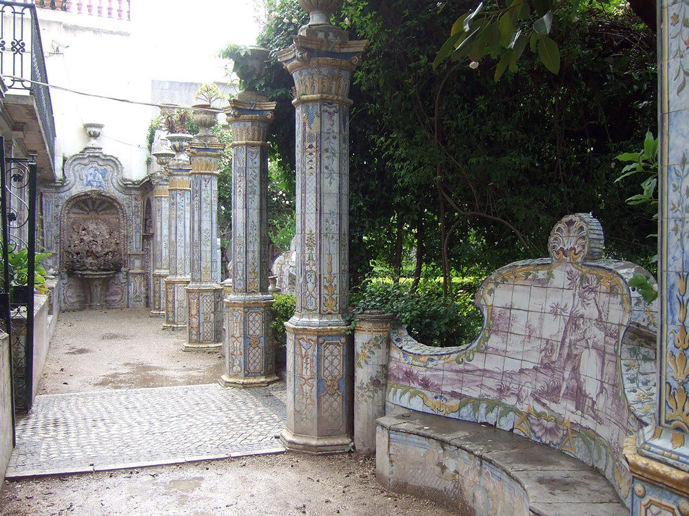 tiled columns and benches in the Quinta dos Azulejos Garden