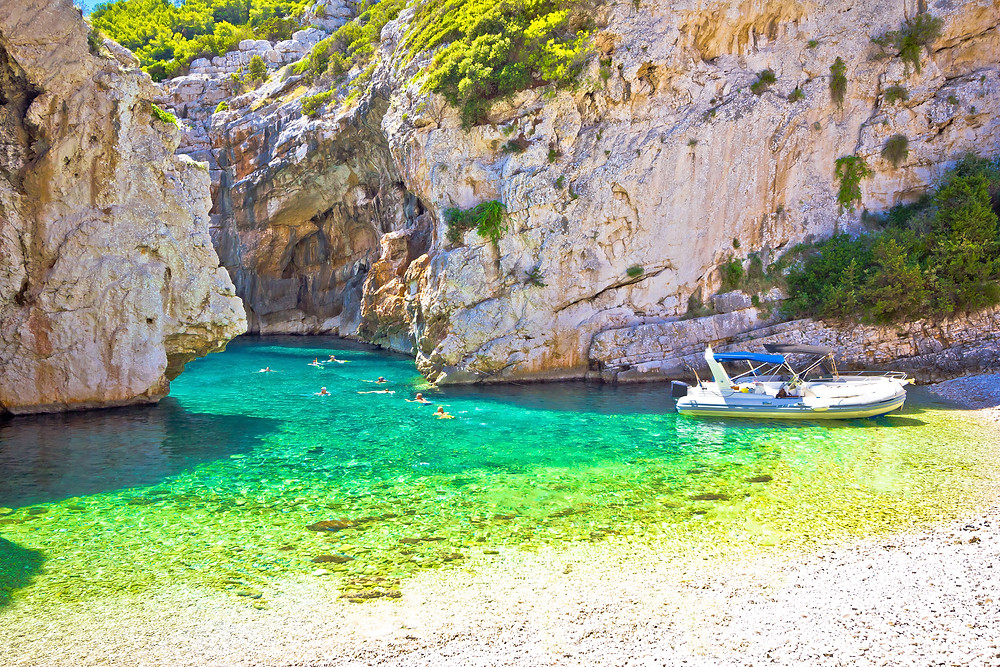 the little cove where you access hidden Stivina Beach, as seen from our speedboat