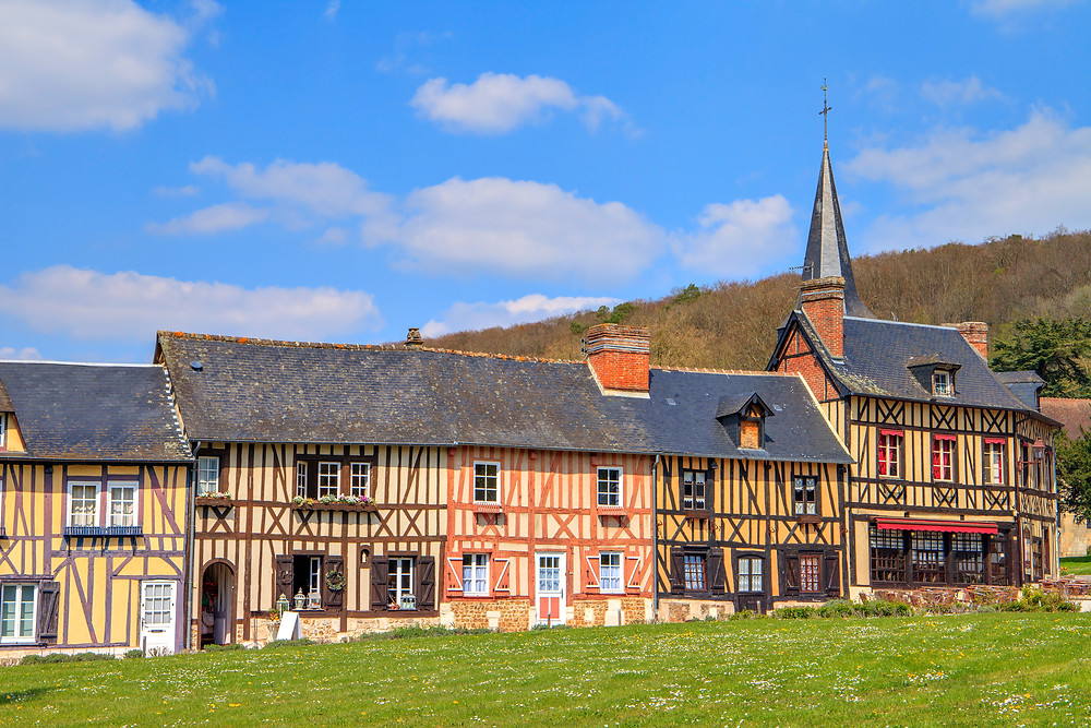 half timbered architecture in Le Bec-Hellouin Normandy