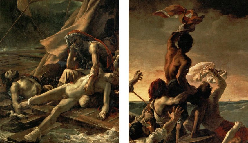 Details from the Raft of the Medusa. On the left, a despondent father holds onto the body of his dead son in the foreground. On the right, a figure waves a flag hoping to attract help