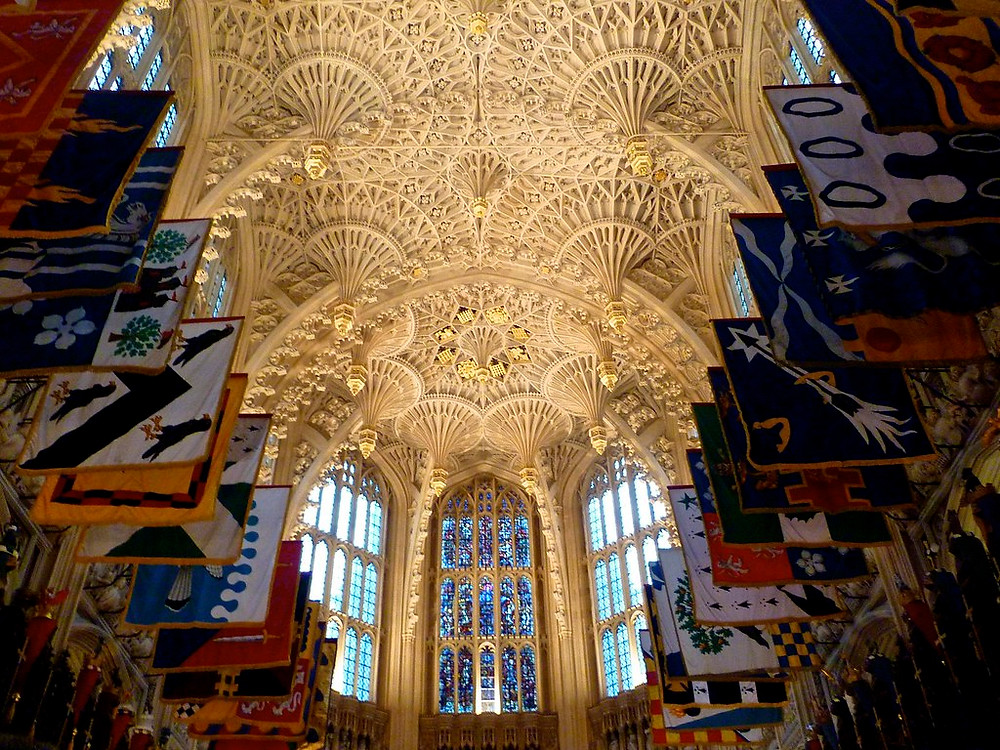 the fan vaulted ceiling of the Henry VII Chapel