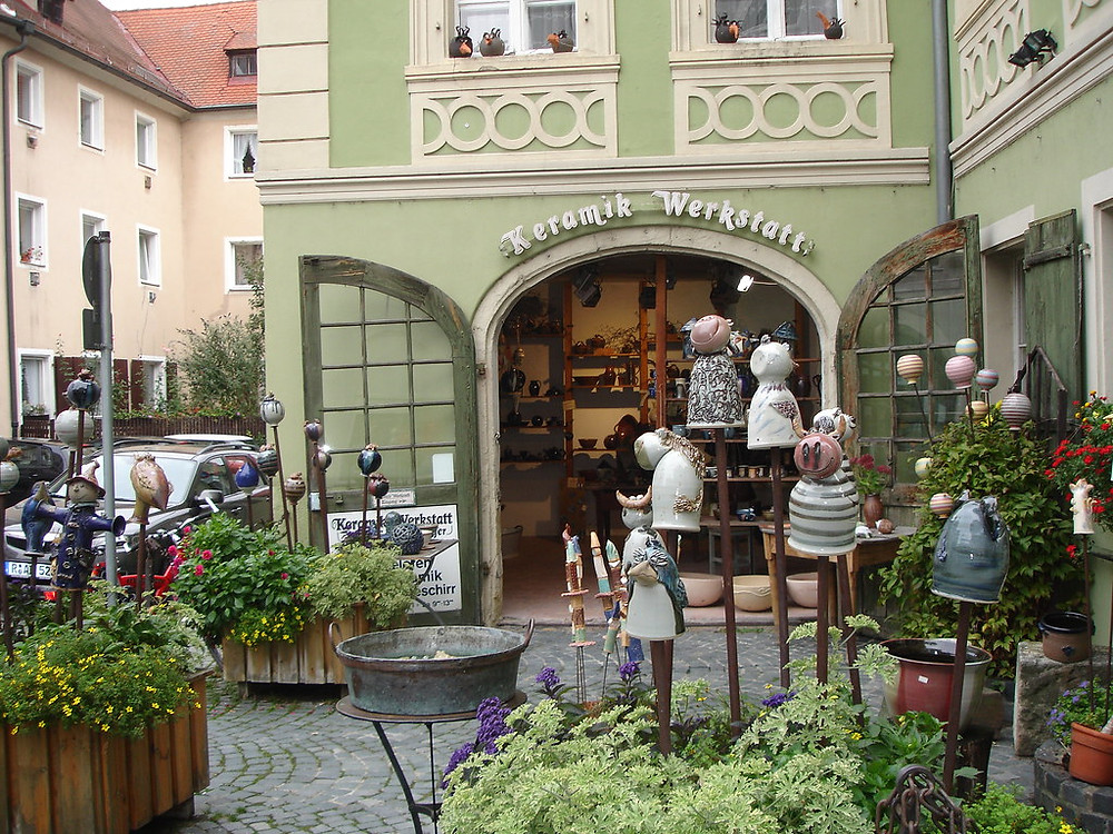 pretty pastel colored shop in Regensburg's old town