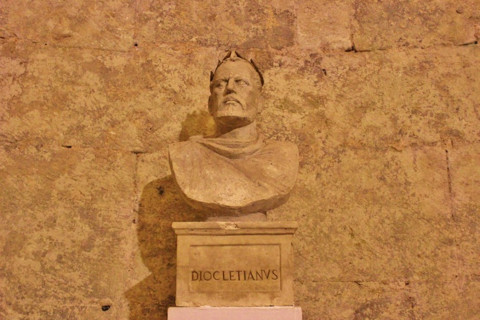 a statue of the Roman Emperor Diocletian in his palace