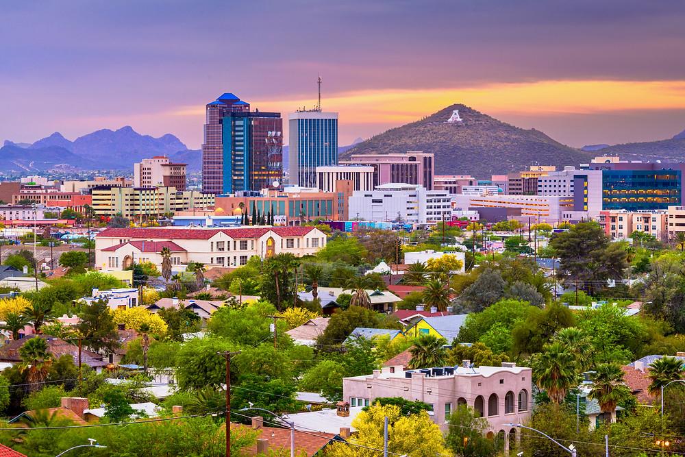 Tucson cityscape at dusk