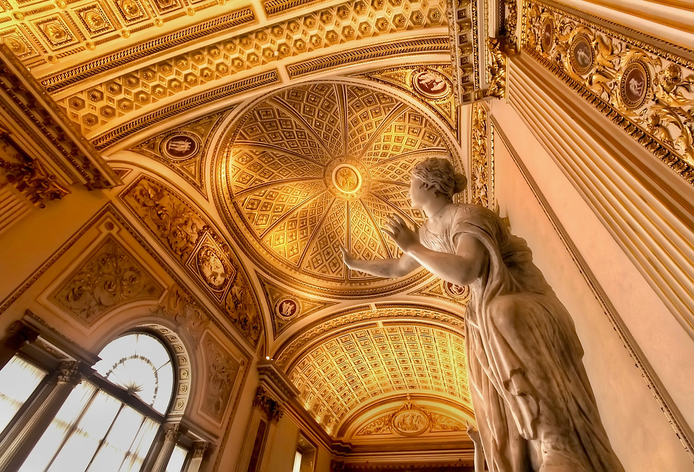 View of Grand Hall with Gold Ceiling at Uffizi Gallery,