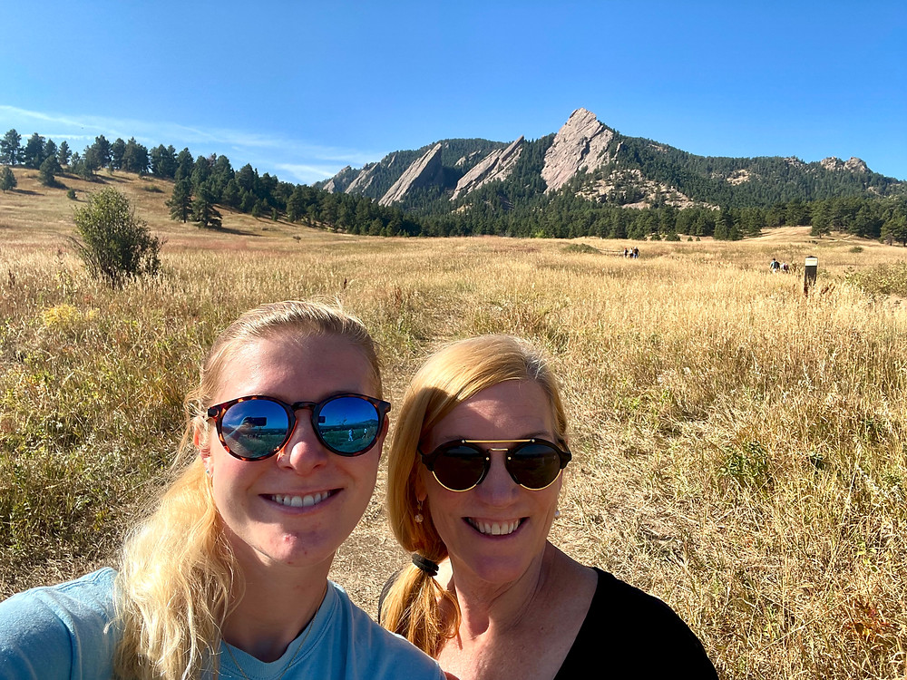 my daughter and I about to hike Chautauqua Trail