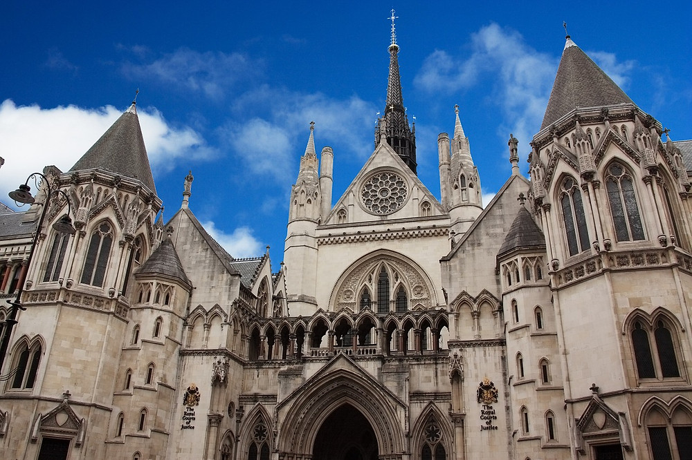 the Gothic facade of the Royal Courts of Justice in London