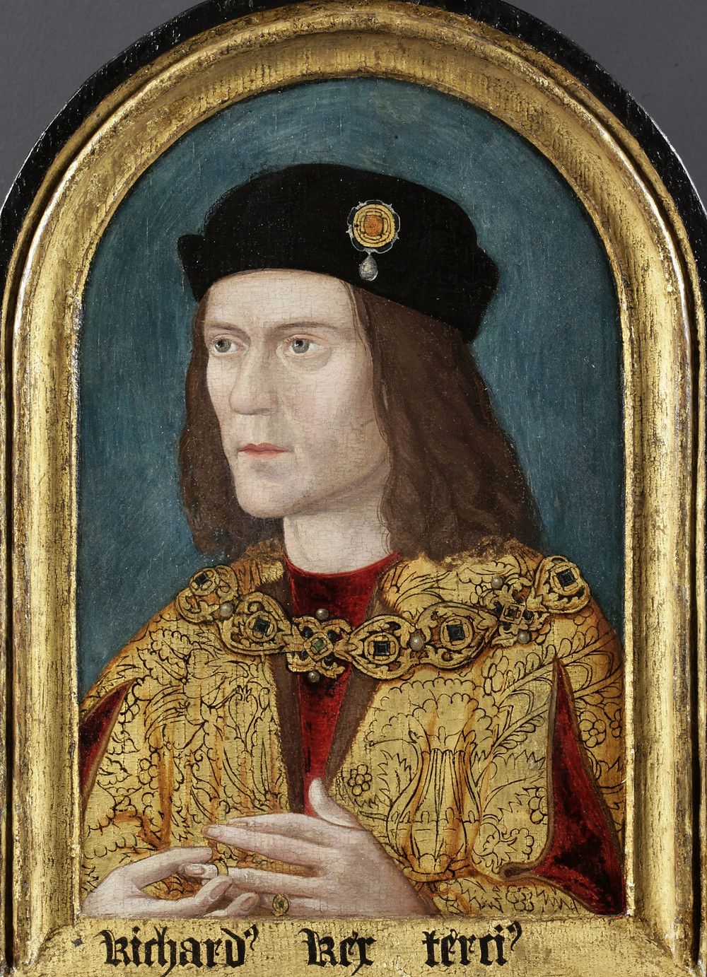 "The ""arched"" portrait of Richard III, possibly the only reasonably accurate early portrait of him. Portraiture was still in its infancy. It's believed the portrait is a 16th century copy of a prototype produced during the king's lifetime."