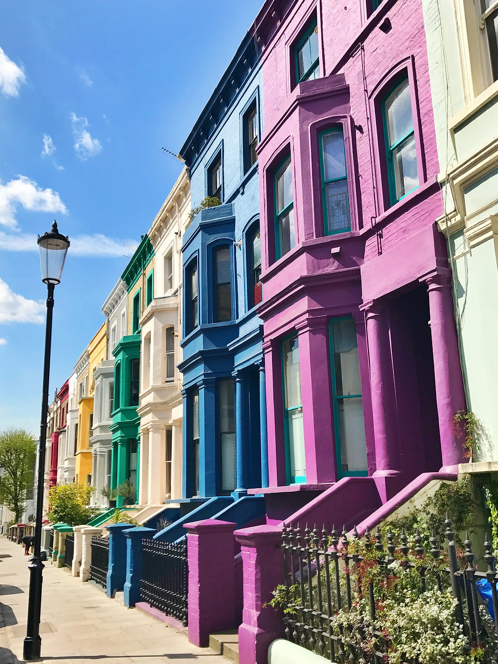more colorful row houses in the Notting Hill area of London