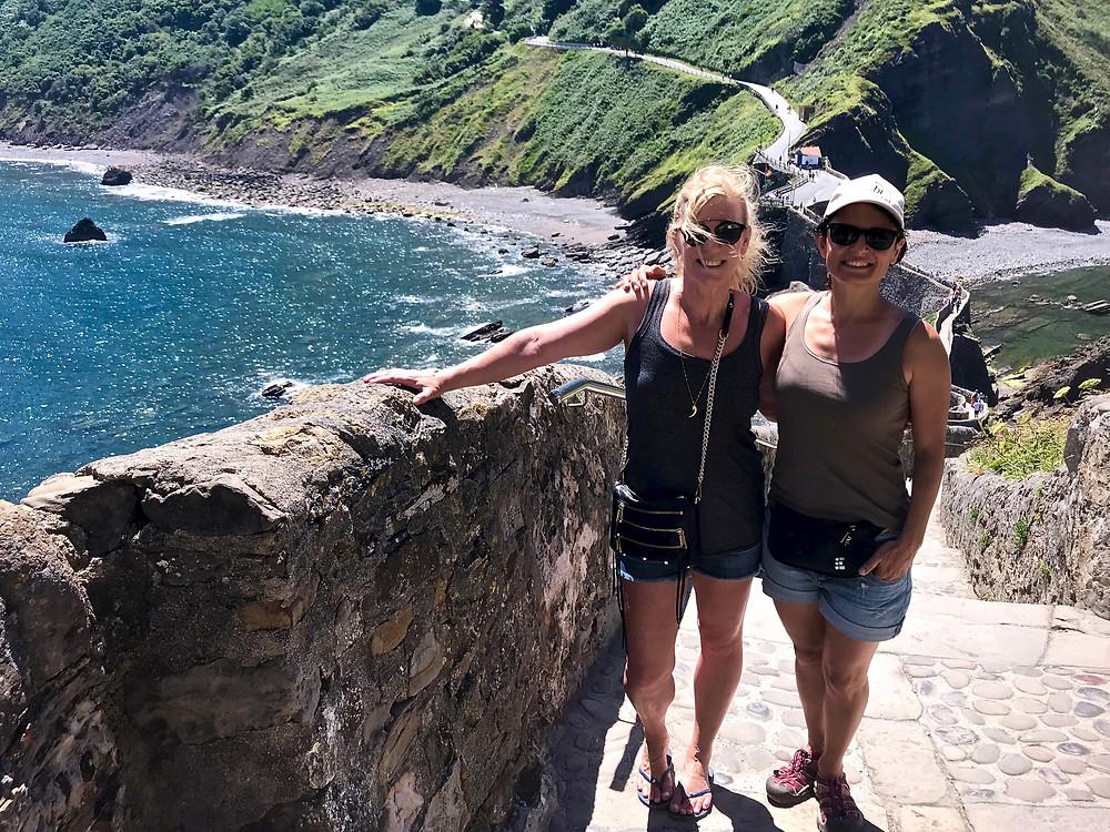 Leslie and Mercedes at the beautiful San Juan de Gaztelugatxe