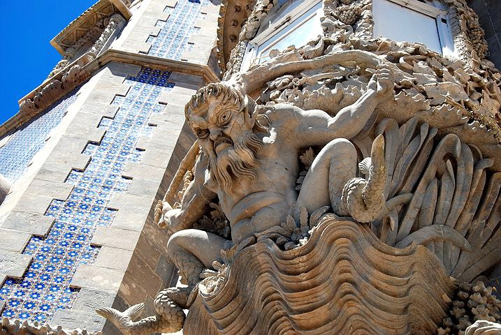 scowling merman on the facade of Pena Palace