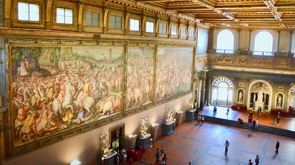 Giorgio Vasari frescos in the Hall of the Five Hundred in Palazzo Vecchio