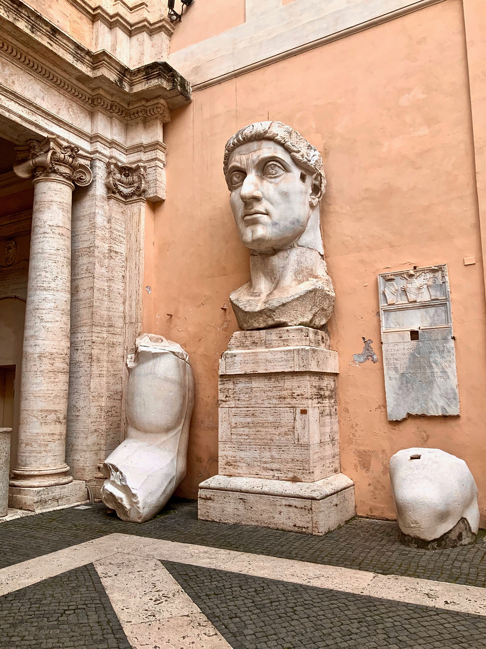 chunks of the Colossus of Constantine in the courtyard of the Capitoline Museums