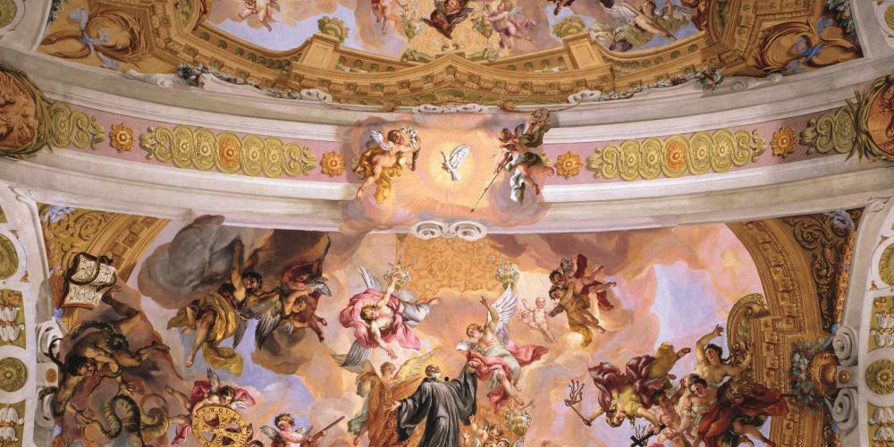 pink and gold ceiling frescos in Melk Abbey's church, the Stiftskirche