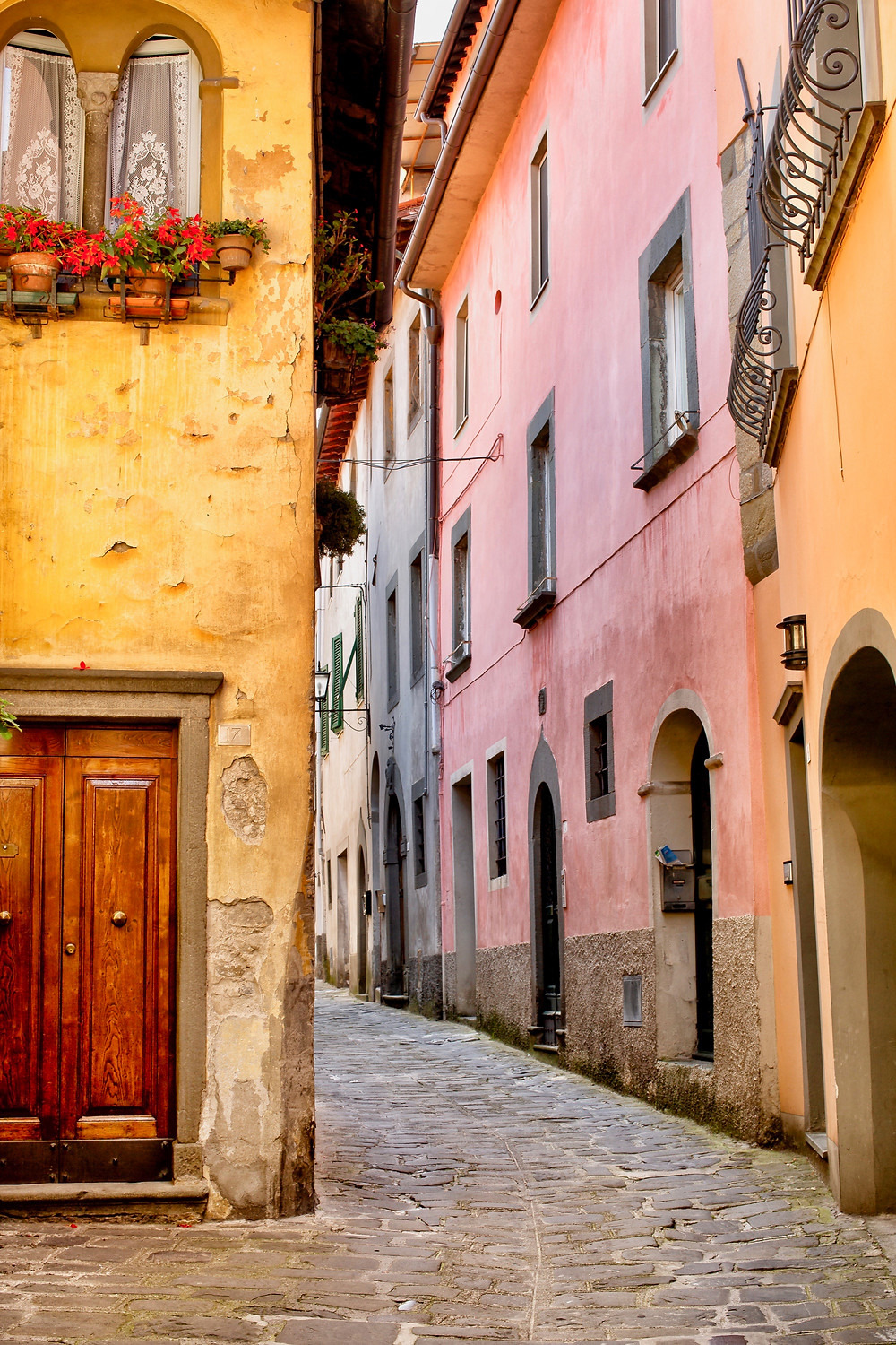 typical pretty street in Barga Italy