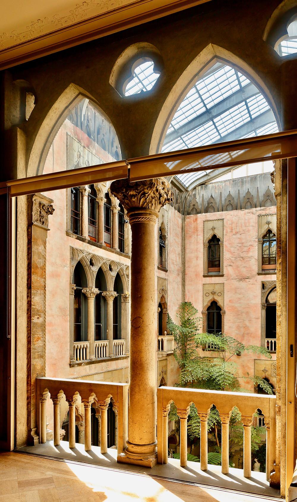 balcony at the beautiful Isabella Stewart Gardner Museum in Boston MA