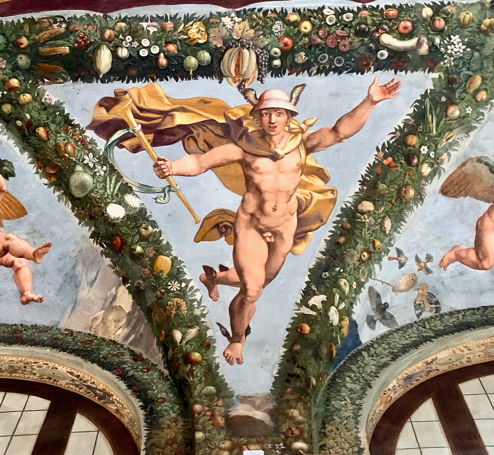 the god Mercury in the Loggia of Cupid and Psyche