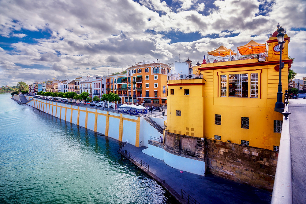 colorful houses in Triana, on the banks of the Guadalquivir River