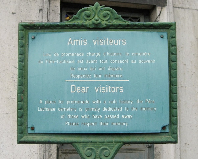 visitor sign at Pere LaChaise Cemetery