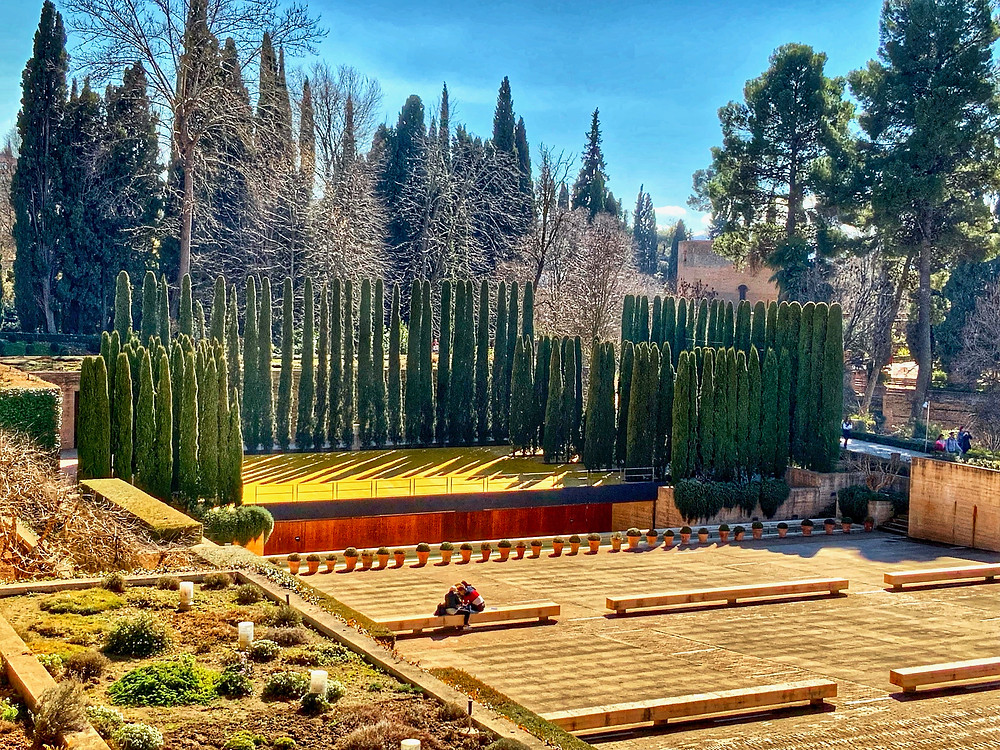 the cypress lined stage of the theater of the Generalife Gardens
