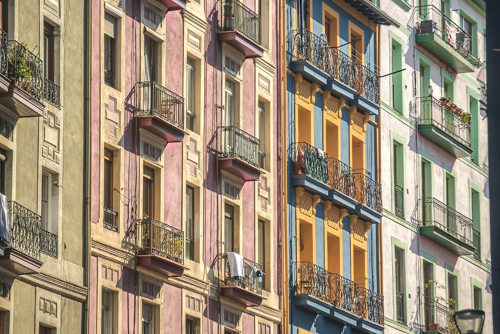 pastel colored homes in Bilbao