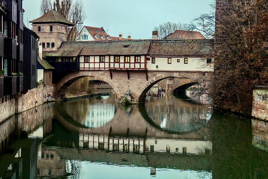 medieval Hangman's bridge in the old town of Nuremburg