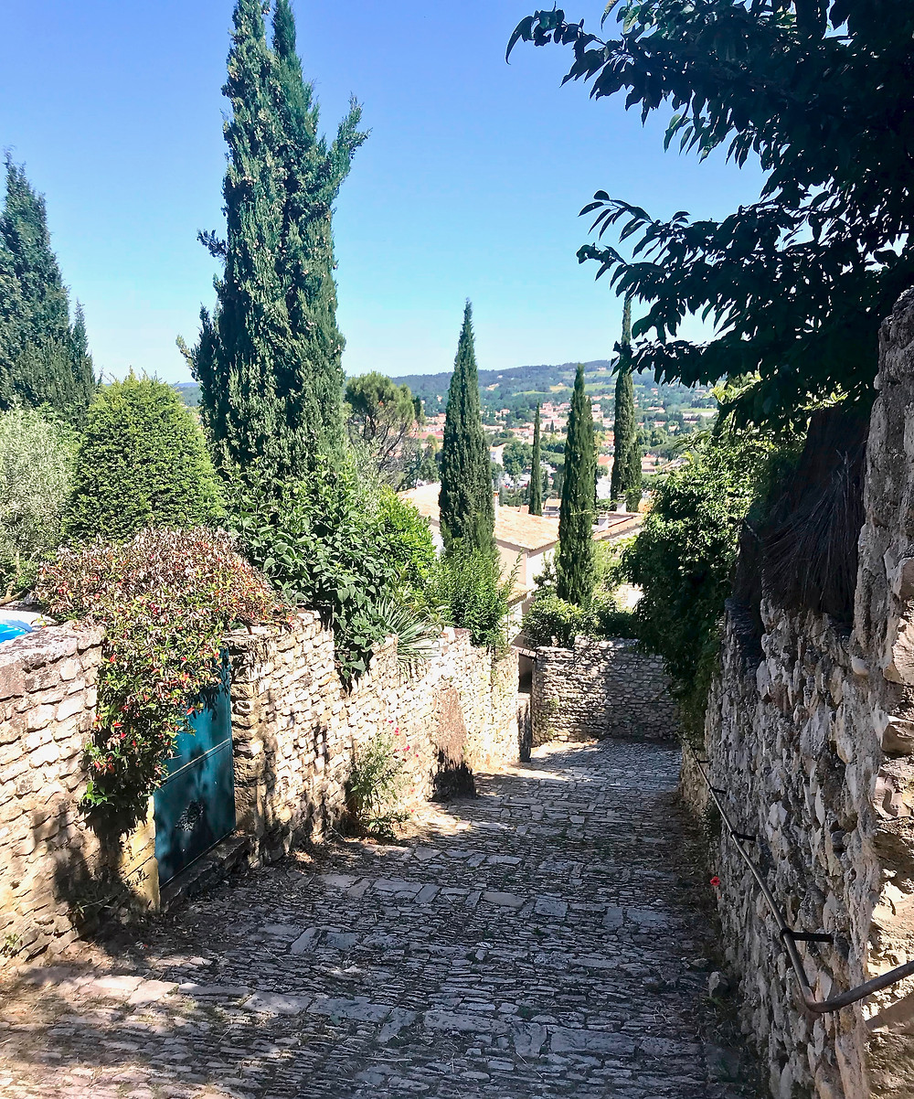 pretty cobbled streets and cypress trees in Vaison La Romaine