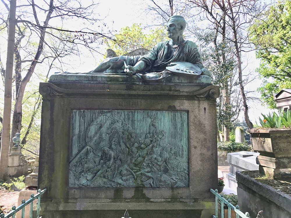 the grave of Theodore Gericault, with his famous painting The Raft of the Medusa