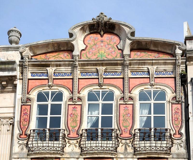pretty pink Art Nouveau facade in Aveiro Portugal
