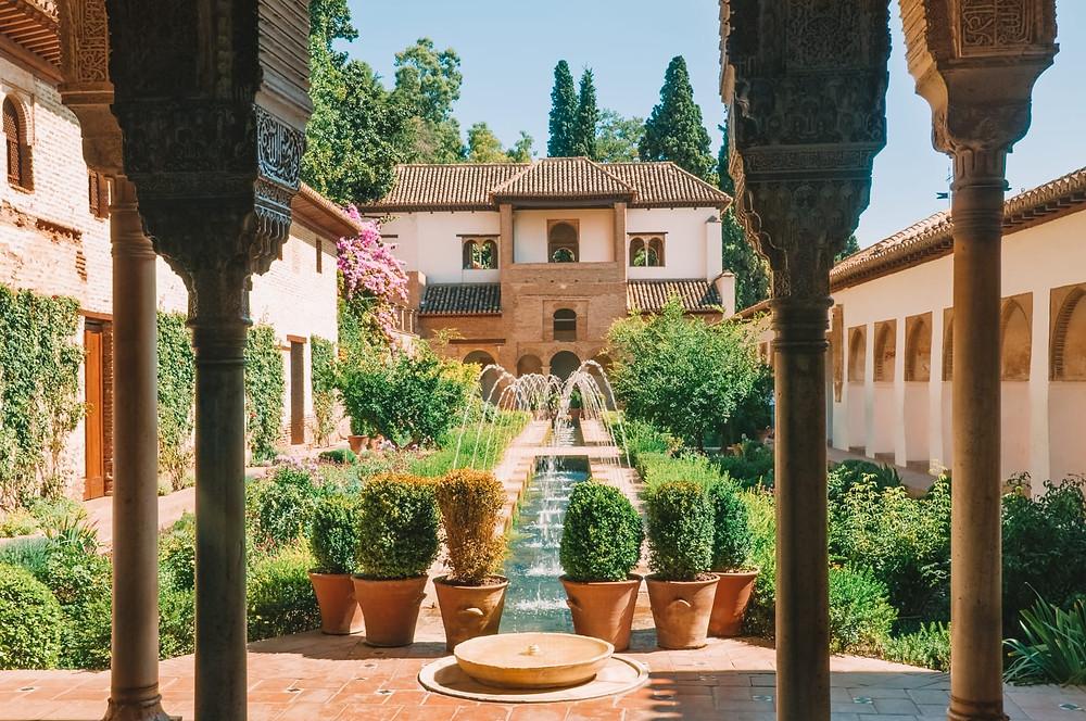 courtyard pool in the Generalife Gardens