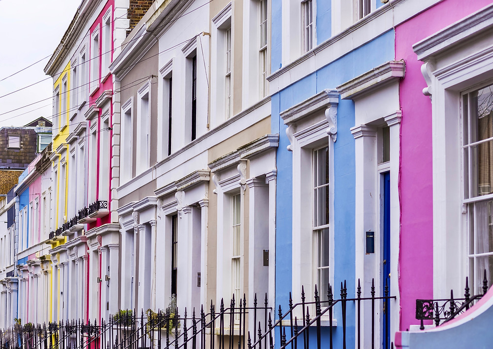 pastel row houses in the Notting Hill neighborhood of west London