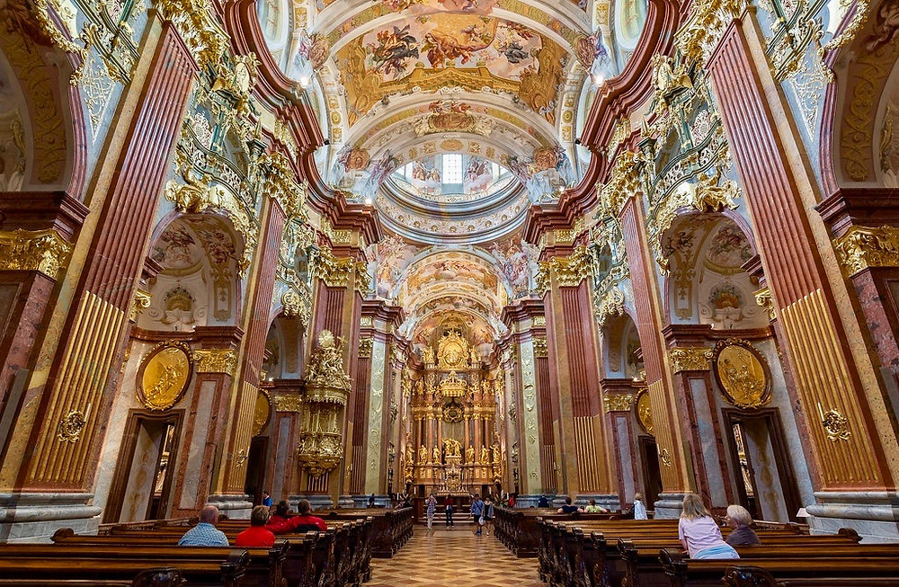 swishy interior of the Melk Abbey church