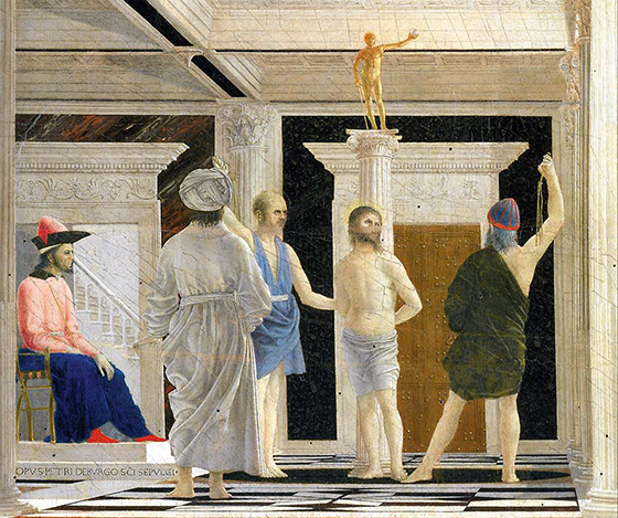 detail of Piero della Francesca painting The Flagellation