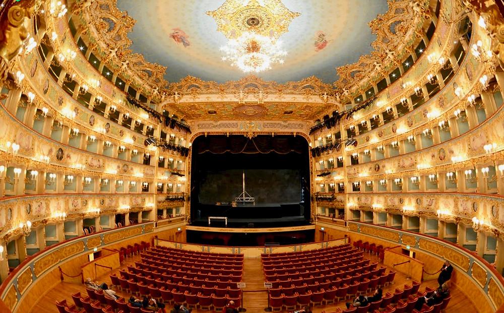 the opulent interiors of La Fenice, Venice's opera house