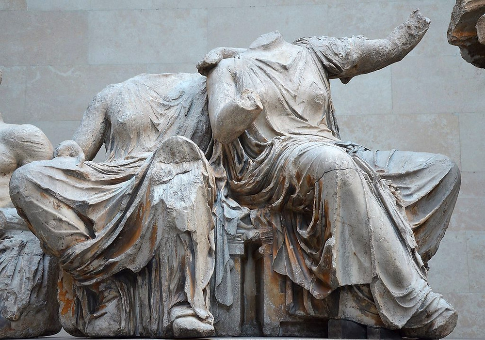 two figures thought to be Demeter and Persephone from the east Parthenon pediment, at the British Museum