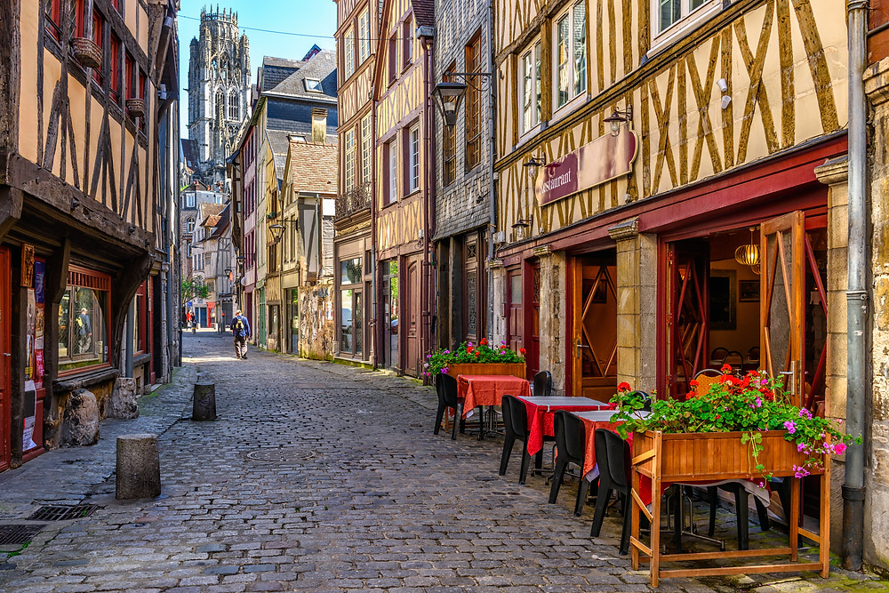 a cozy street in Rouen with beautiful half timber architecture
