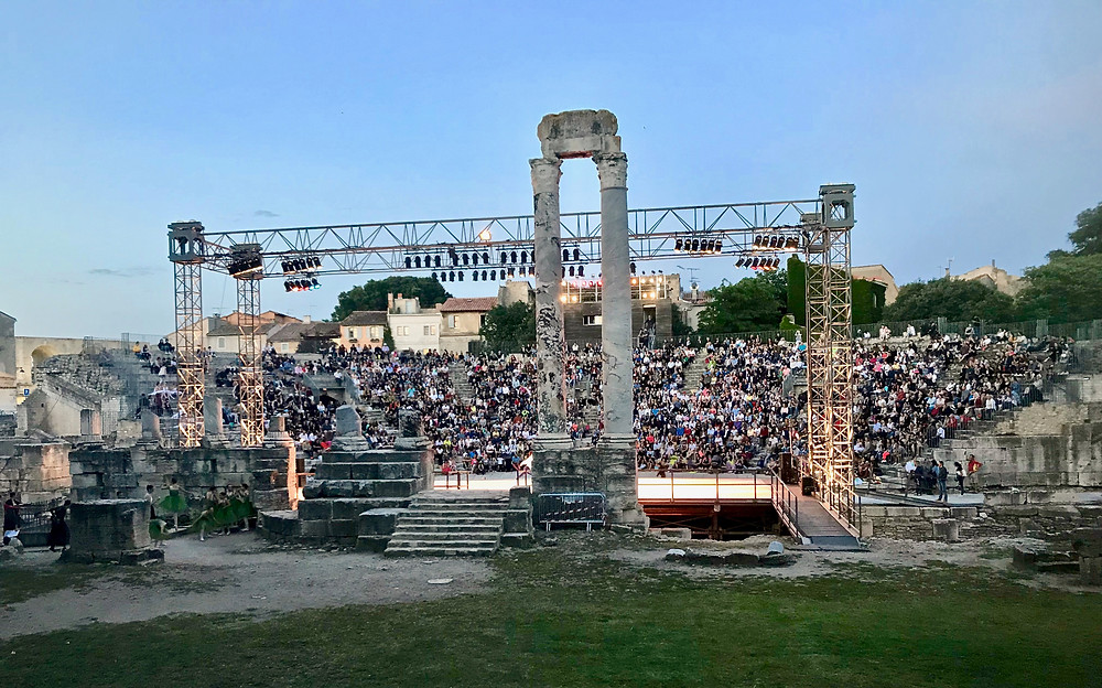 a dance performance at Arle's ancient Roman Theater in Arles built by Emperor Augustus in the 1st century A.D.