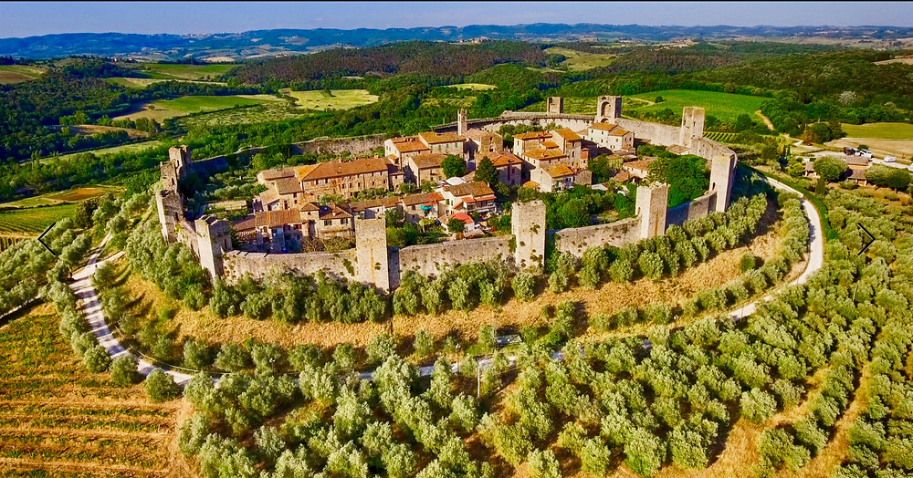 the walled village of Monteriggioni in Tuscany