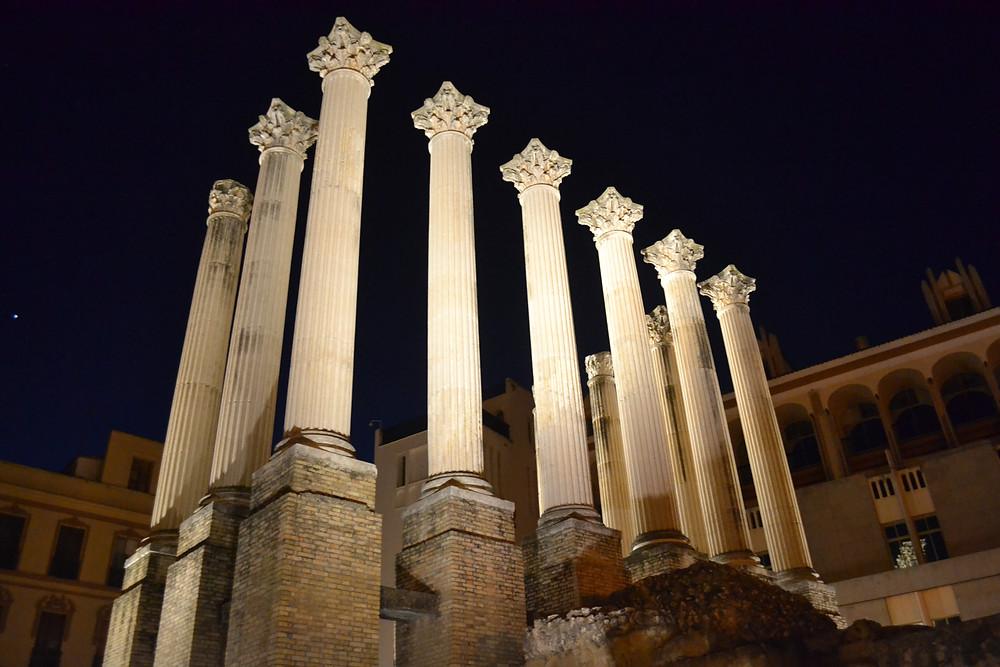 Cordoba's Roman Temple lit up at night