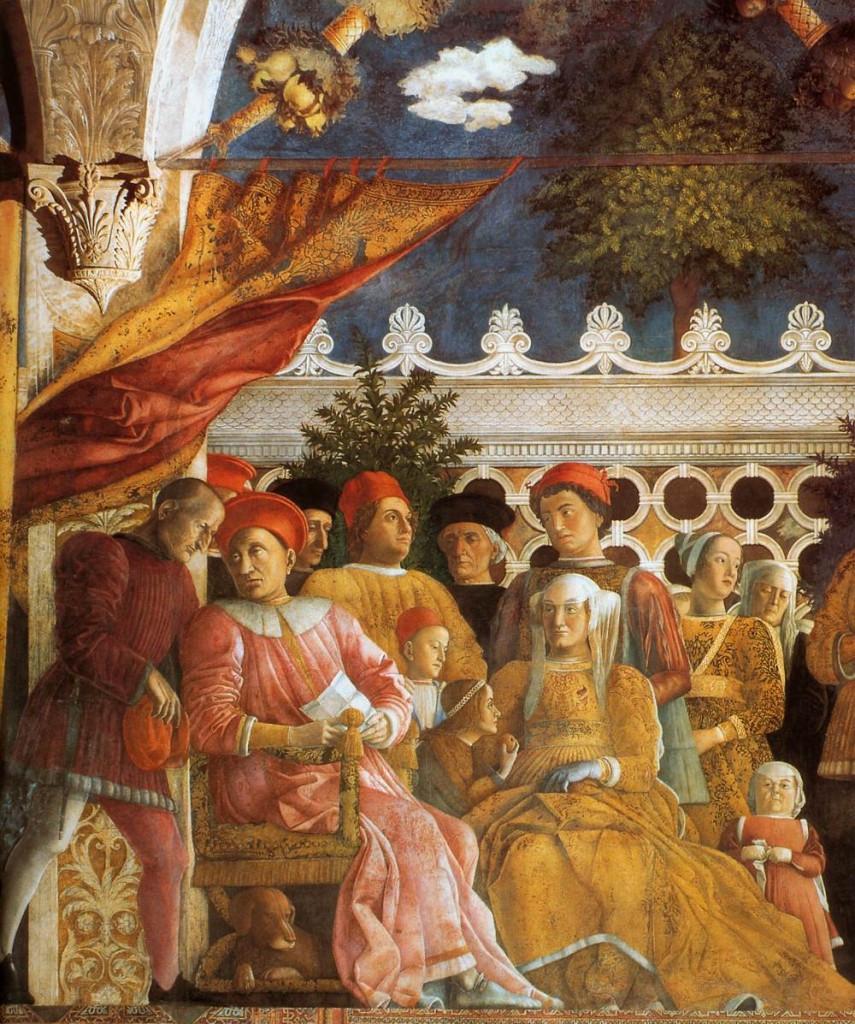north wall of the Camera degli Sposi, a Mantegna masterpiece in Mantua Italy