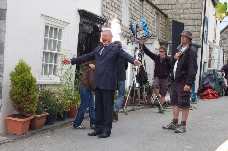 Martin Clunes on set in Port Issac