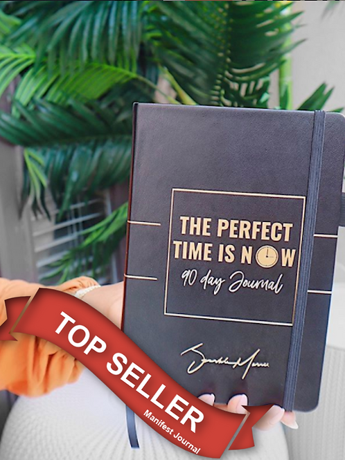 THE PERFECT TIME IS NOW 90 DAY BLACK & GOLD JOURNAL