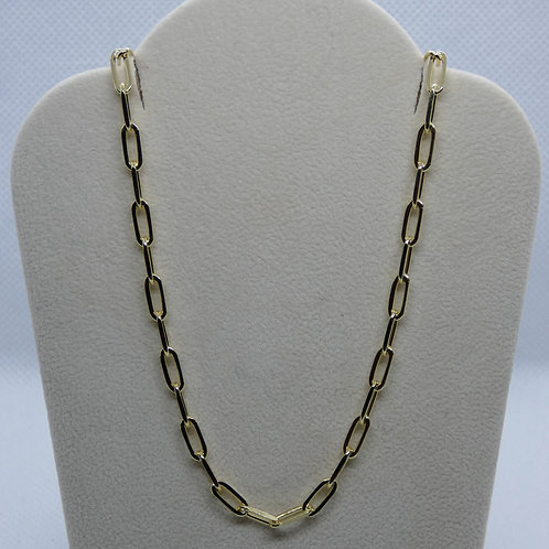 Italian Sterling Silver Gold Plated Paper Clip Shane Necklace (3.2 mm)