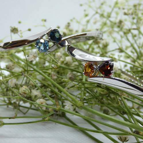 Sterling Hearts Birthstone Bracelet
