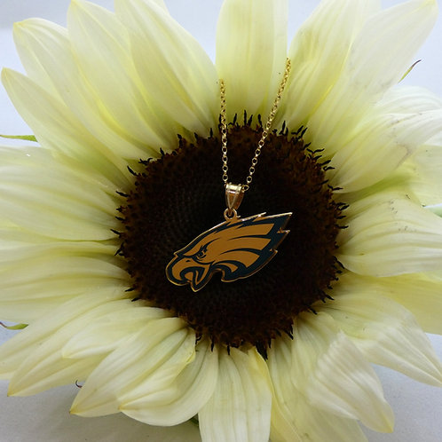 Philadelphia Eagles Sterling Silver & Gold Plated Pendant Necklace with Enamel
