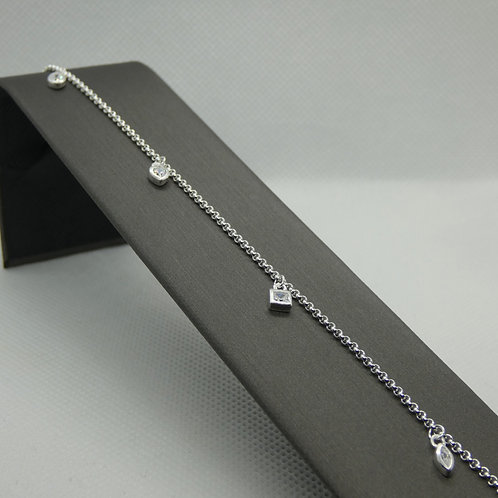 Sterling Silver Geometric Charm Anklet